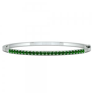 Emerald Bangle Bracelet in White Gold