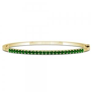 Emerald Bangle Bracelet in Yellow Gold