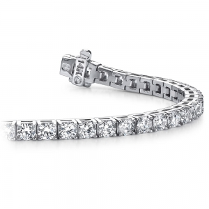 Four Prong Diamond Tennis Bracelet in White Gold (3 ctw) | Featured