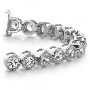 Milgrain Bezel Diamond Bracelet in White Gold (1 ctw)