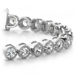 Milgrain Bezel Diamond Bracelet in White Gold (1 ctw)