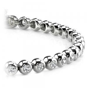 Modern Bezel Diamond Bracelet in White Gold (1 ctw)