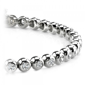 Modern Bezel Diamond Bracelet in White Gold (1 ctw)