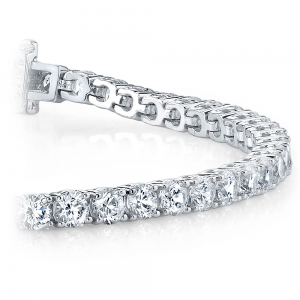 Round Diamond Line Tennis Bracelet in White Gold (4 ctw)
