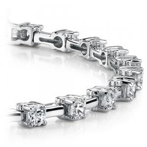 Round Column Link Diamond Bracelet in White Gold (1 ctw)