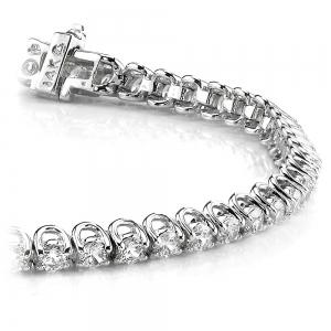 Round U-Prong Diamond Bracelet in White Gold (1 ctw)