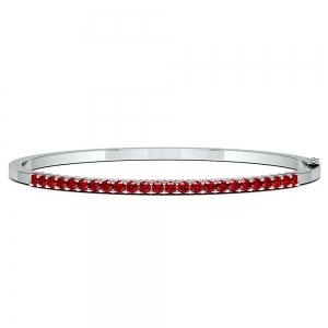 Ruby Bangle Bracelet in White Gold