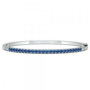 Sapphire Bangle Bracelet in White Gold
