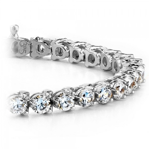 Three Prong Diamond Tennis Bracelet in White Gold (1 ctw)