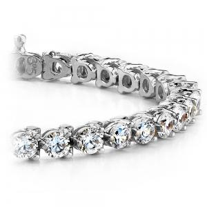 Three Prong Diamond Tennis Bracelet in White Gold (1 ctw)