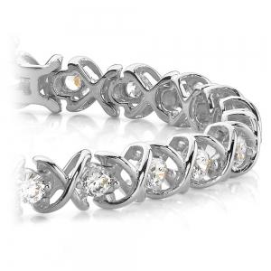 XO Diamond Bracelet in White Gold (1 ctw)