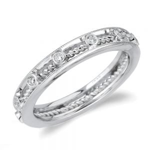 twisted cable bezel diamond wedding ring in white gold by parade