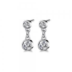 Bezel Diamond Link Earrings in White Gold (1/2 ctw)