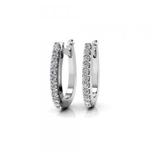 Huggie Diamond Earrings in White Gold (1/2 ctw)