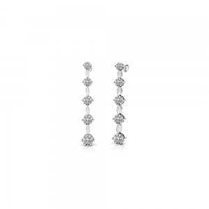 Round Diamond Drop Earrings in White Gold (1/2 ctw)