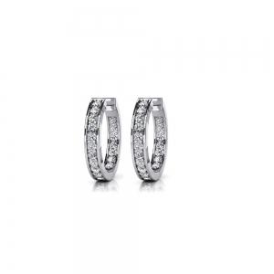 Diamond Channel Hoop Earrings in White Gold (3/4 ctw)