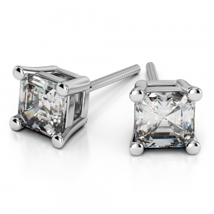 Asscher Diamond Stud Earrings in White Gold (3/4 ctw)