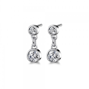 Bezel Diamond Link Earrings in White Gold (1/3 ctw)