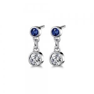 Bezel Diamond & Sapphire Link Earrings in White Gold | Featured