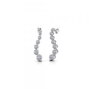 Curvy Diamond Drop Earrings in White Gold (1/2 ctw)
