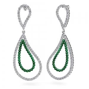 Curvy Diamond & Emerald Link Earrings in White Gold
