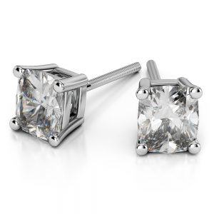Cushion Diamond Stud Earrings in White Gold (1/2 ctw)