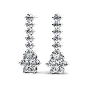 Diamond Cluster Dangle Earrings in White Gold (1 ctw)