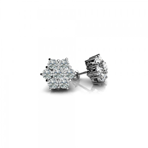 Diamond Flower Earrings in White Gold | Featured