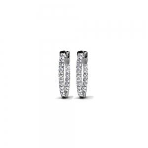 Diamond Hoop Earrings in White Gold (1/2 ctw)