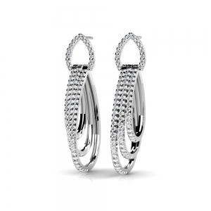Diamond Rope Earrings in White Gold | Featured