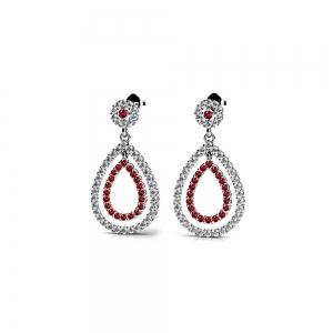 Diamond & Ruby Link Earrings in White Gold