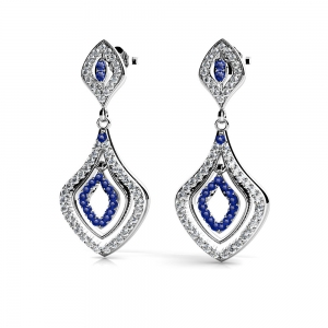 Diamond & Sapphire Dangle Earrings in White Gold