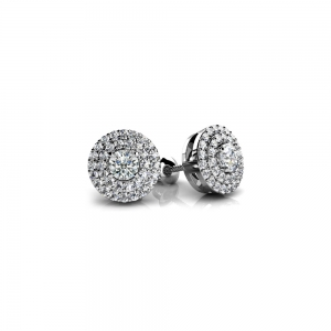 Double Halo Diamond Earrings in White Gold (1/2 ctw)