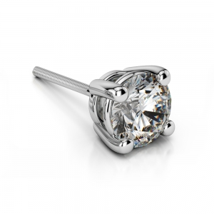 Single Four Prong Earring Setting (Round) in Platinum