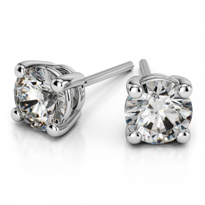 Four Prong Earring Settings (Round) in White Gold