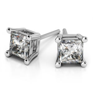 Four Prong Earring Settings (Square) in Platinum