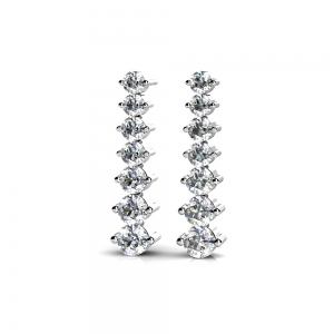 Graduated Diamond Dangle Earrings in White Gold (1 ctw) | Featured
