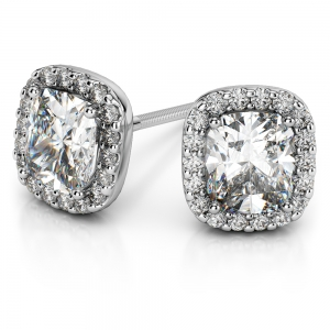 Halo Cushion Diamond Earring Settings in White Gold