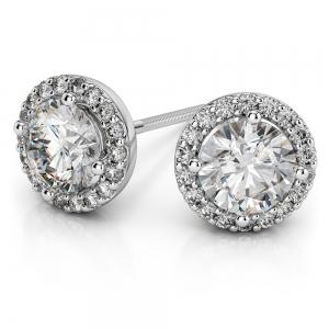 Halo Diamond Earrings in White Gold (1 ctw)