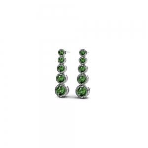 Milgrain Emerald Drop Earrings in White Gold