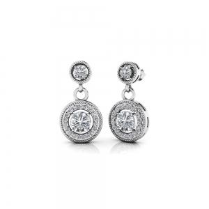 Milgrain Halo Dangle Diamond Earrings in White Gold | Featured