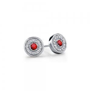 Halo Milgrain Diamond & Ruby Earrings in White Gold