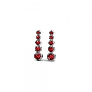 Milgrain Ruby Drop Earrings in White Gold
