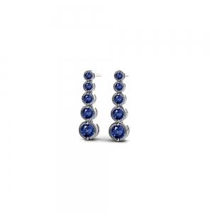 Milgrain Sapphire Drop Earrings in White Gold