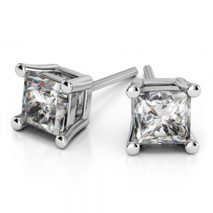 Princess Diamond Stud Earrings in White Gold (3/4 ctw)