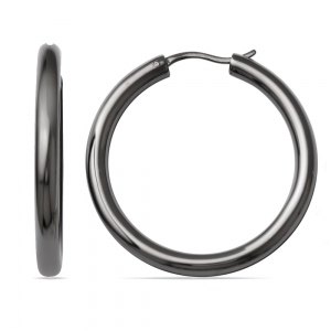 Round Tube Hoop Earrings with Blackened Finish in Silver (33 mm)