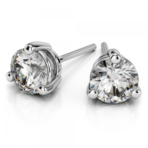Three Prong Diamond Stud Earrings in White Gold (1/2 ctw)