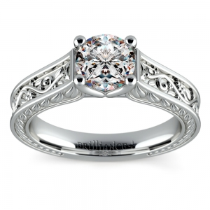Antique Floral Solitaire Engagement Ring in Platinum