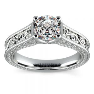 Antique Floral Solitaire Engagement Ring in White Gold