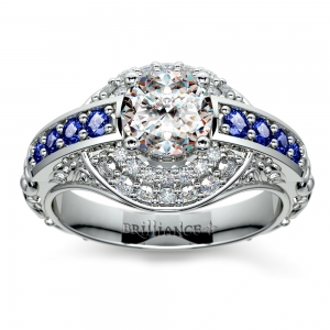 Antique Halo Diamond & Sapphire Engagement Ring in White Gold | Featured